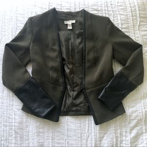 H&M Olive Blazer Leather Sleeves